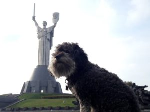 willie at the motherland monument in kiev